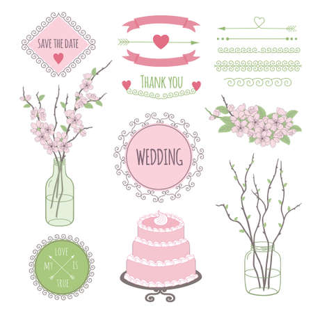 vintage styled design: Set of vintage styled design romantic hipster icons and elements with sakura flowers