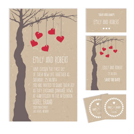 Set of wedding cards or invitations with a tree and hearts on cardboard texture Illustration