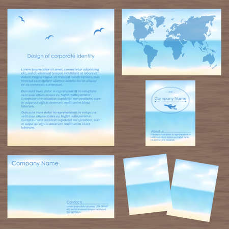 ci: Vector corporate identity with beautiful seascape . Geometric banner design template. Brand, visualization, corporate identity business set Illustration