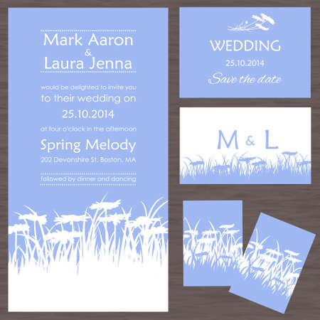 vows: Set of wedding cards or invitations with beautiful wild flowers