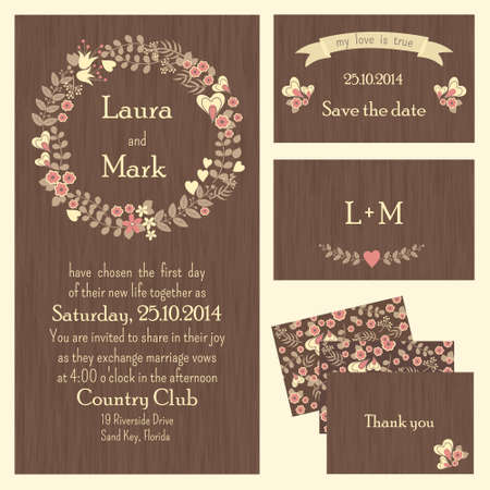 the groom: Set of wedding cards or invitations with flowers and hearts, country style