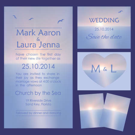 Set of wedding cards or invitations with beautiful seascape
