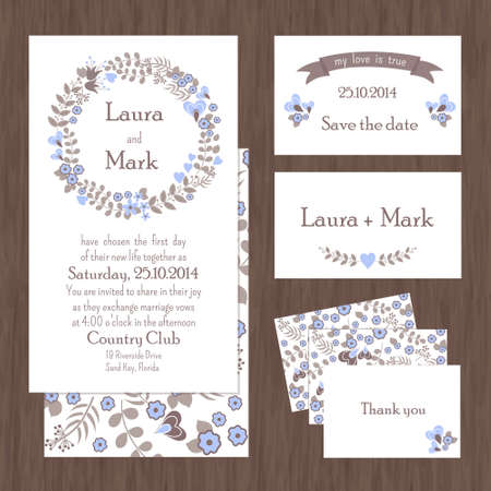 country style: Set of wedding cards or invitations with flowers and hearts, country style