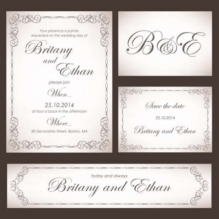 Conjunto de tarjetas o invitaciones de boda, estilo de la vendimia