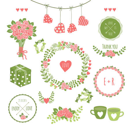 tea rose: Set of vintage styled hipster design romantic icons
