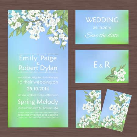 Conjunto de tarjetas o invitaciones de boda con las flores de sakura