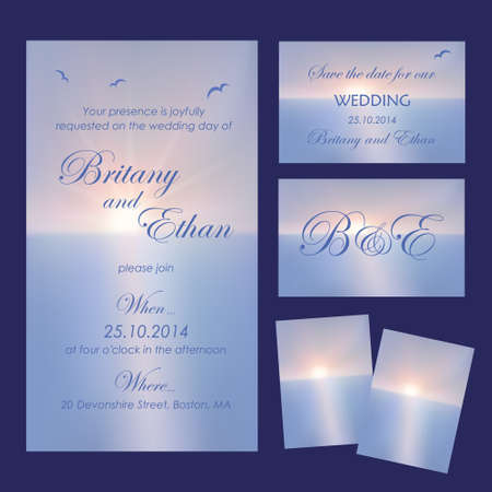 vows: Set of wedding cards or invitations with beautiful seascape