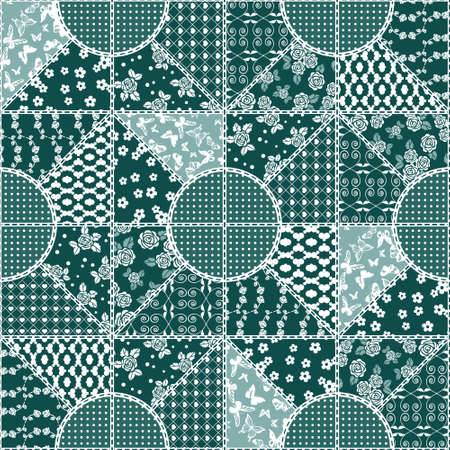 jacquard: Vector abstract seamless patchwork pattern with geometric and floral  ornaments, stylized flowers, dots, snowflakes and lace. Vintage boho style. Illustration