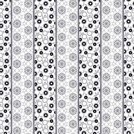 snippet: Vector abstract seamless patchwork pattern with geometric and floral  ornaments, stylized flowers, dots, snowflakes and lace. Vintage boho style. Black and white
