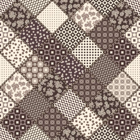 snippet: Vector abstract seamless patchwork pattern with geometric and floral  ornaments, stylized flowers, dots, snowflakes and lace. Vintage boho style. Illustration
