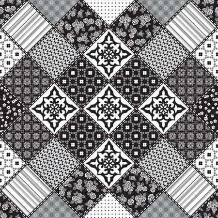Vector abstract naadloze patchwork patroon met geometrische en florale ornamenten, gestileerde bloemen, stippen, sneeuwvlokken en kant. Vintage boho-stijl. Zwart en wit