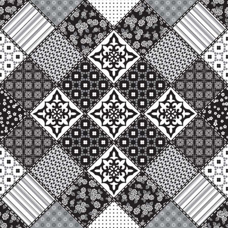 a tile: Vector abstract seamless patchwork pattern with geometric and floral  ornaments, stylized flowers, dots, snowflakes and lace. Vintage boho style. Black and white