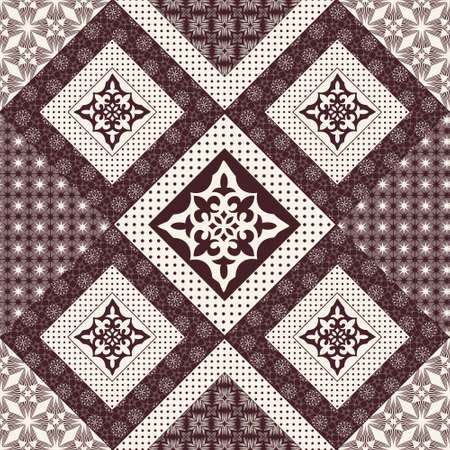 Vector abstract seamless patchwork pattern with geometric and floral  ornaments, stylized flowers, dots, snowflakes and lace. Vintage boho style. Illustration