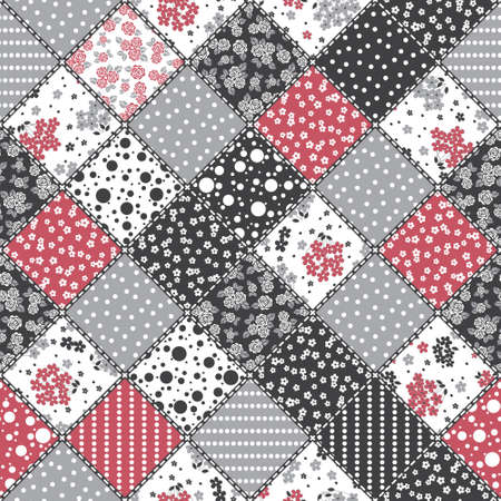 Vector abstract seamless patchwork pattern with geometric and floral ornaments, stylized flowers, dots, snowflakes and lace. Vintage boho style.