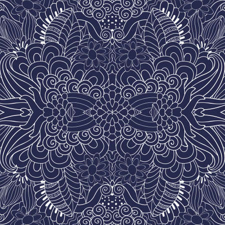 jacquard: Seamless vector hand drawn floral pattern, pattern can be used for wallpaper, pattern fills, surface textures . Black and white Illustration