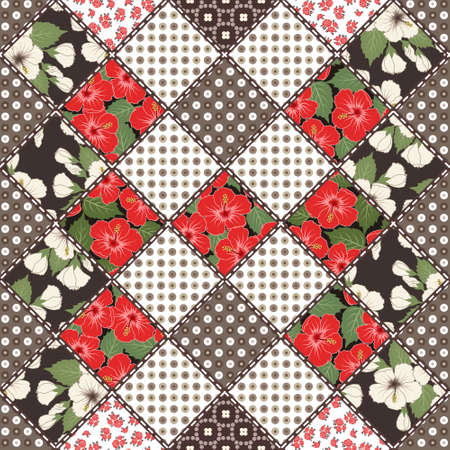 snippet: Vector abstract seamless patchwork pattern with geometric and floral  ornaments, stylized flowers. Vintage boho style. Illustration