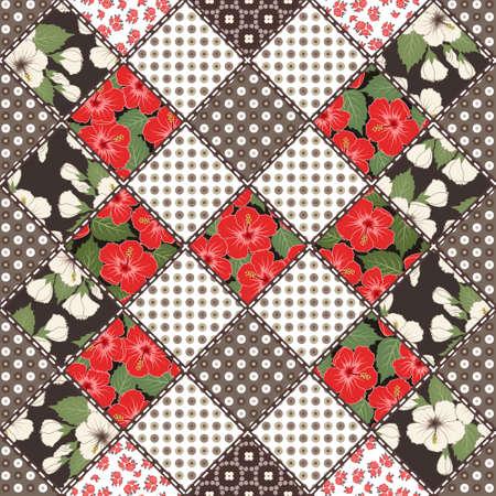 patrón de mosaico del vector abstracto transparente con adornos geométricos y florales, flores estilizadas. estilo boho de la vendimia.