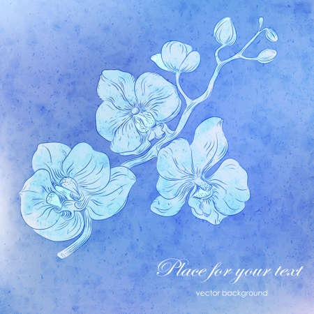 orchid branch: Vector card with blue watercolor texture and hand drawn stylized orchid branch . Perfect  cards for any  kind of design, birthday and other holiday Illustration