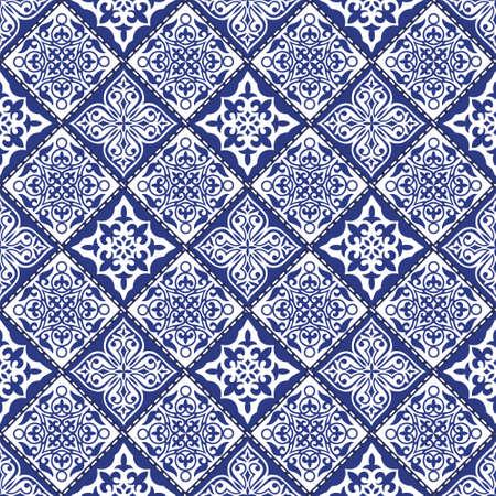 Vector astratto motivo patchwork senza soluzione di continuità con ornamenti geometrici e floreali, fiori stilizzati, punti, fiocchi di neve e pizzo. stile boho Vintage.