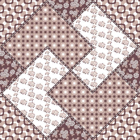 patch panel: Vector abstract seamless patchwork pattern with geometric and floral  ornaments, stylized flowers, dots, snowflakes and lace. Vintage boho style. Illustration