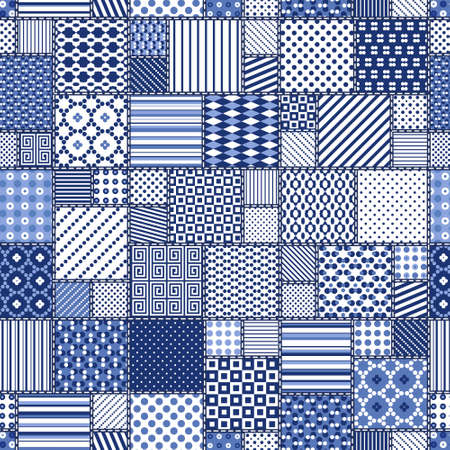 snippet: Vector abstract seamless patchwork pattern with geometric   ornaments,  dots and lace. Vintage boho style.