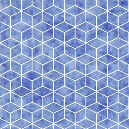 抽象的なシームレスな幾何学的パターン ベクトル青水彩テクスチャ、パターンは、壁紙に使用する塗りつぶしのパターン、テクスチャ 写真素材 - 55092877