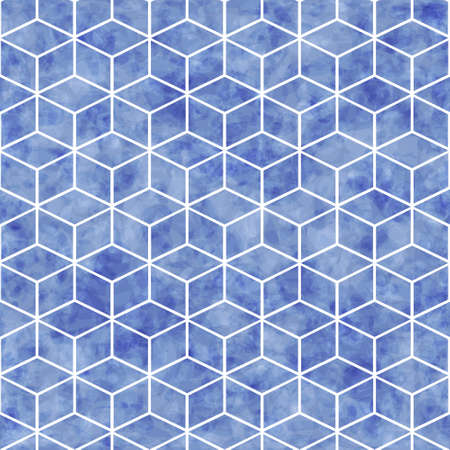Vector abstract seamless geometrical pattern with blue watercolor texture, pattern can be used for wallpaper, pattern fills, surface textures
