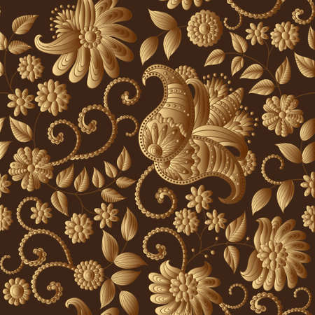 gold textures: Vector floral gold pattern, pattern can be used for wallpaper, pattern fills, surface textures