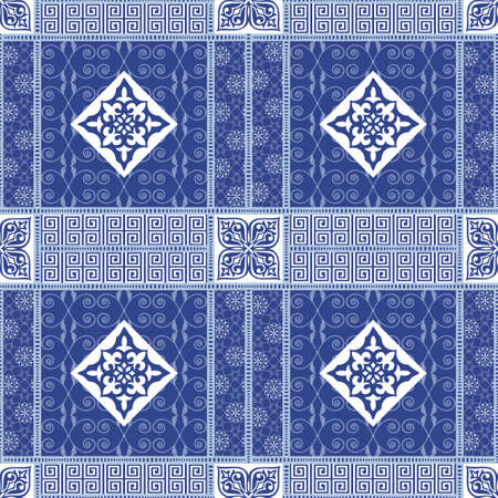 filling material: Vector abstract seamless patchwork pattern with geometric oriental ornaments, stylized flowers, stars, snowflakes and lace on the dark blue background. Vintage boho style. Illustration