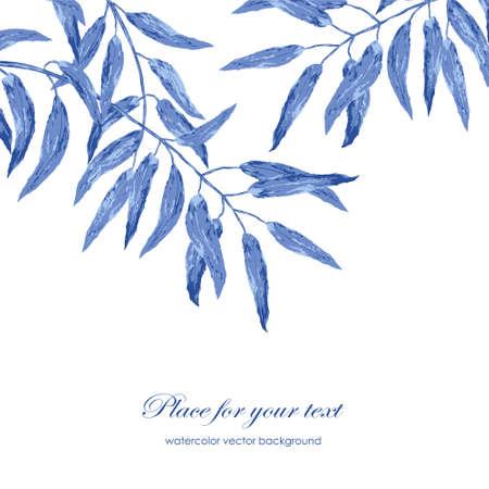 青い葉を持つベクトル花水彩テクスチャ パターン。パターンは、パターンの塗りつぶし、壁紙用に使えます。テキストのための場所、カード、招待  イラスト・ベクター素材