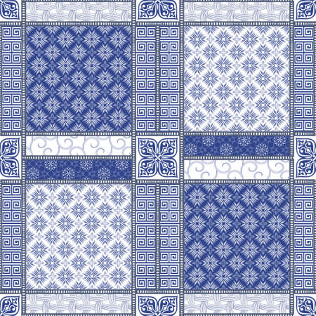 snippet: Vector abstract seamless patchwork pattern with geometric oriental ornaments, stylized flowers, stars, snowflakes and lace on the dark blue background. Vintage boho style. Illustration