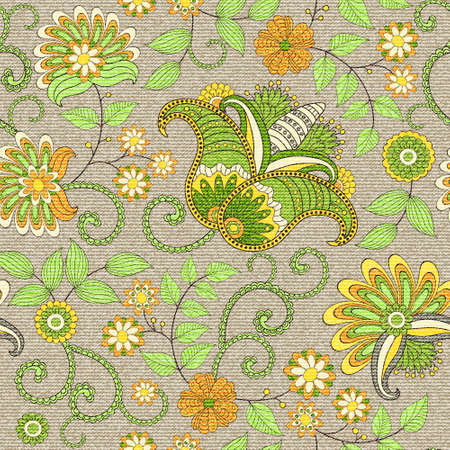 burlap: Seamless vector floral  pattern, pattern can be used for wallpaper, pattern fills,surface textures
