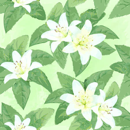 originally: Spring or summer season watercolor nature seamless background with leaves and flowers