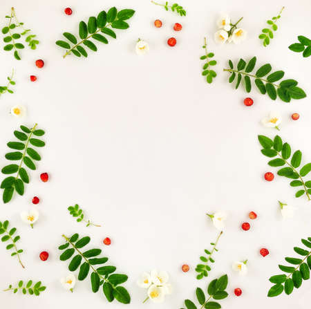 Colorful bright pattern of leaves, berries and flowers. Flat lay, top view, copy space