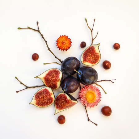Bright autumn composition of plums, figs, chestnuts, dry flowers and tree branches on white background. Flat lay, top view Banco de Imagens