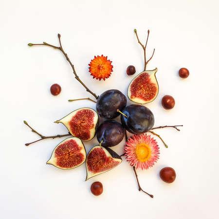 Jasny jesień skład śliwki, figi, kasztany, suche kwiaty i gałęzie drzewa na białym tle. Płaski lay, widok z góry