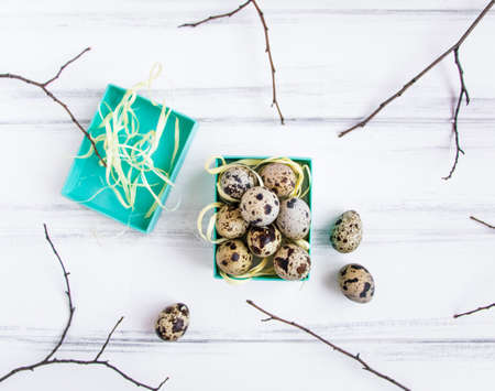 Easter floral background, quail eggs in a bright blue box decorated with yellow raffia ribbon and tree branches on vintage wooden table. Flat lay, top view, view from above Stock Photo