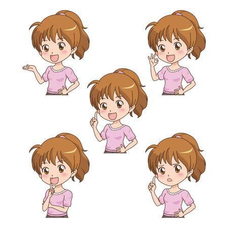dibujos animados de mujeres: chica con muchos plantean Vectores