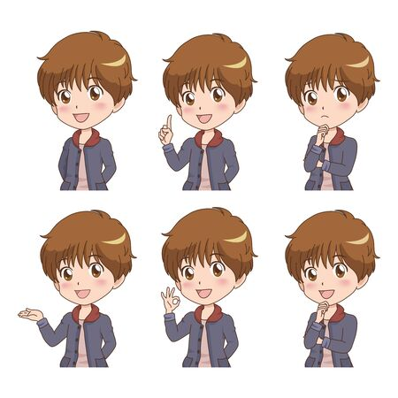 boy with many pose Vector