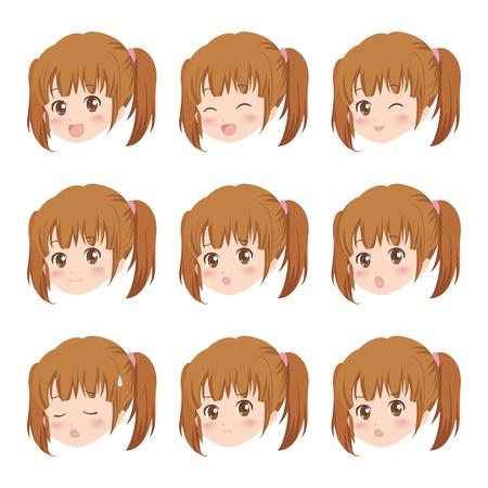 cute girl cartoon: girl face Illustration