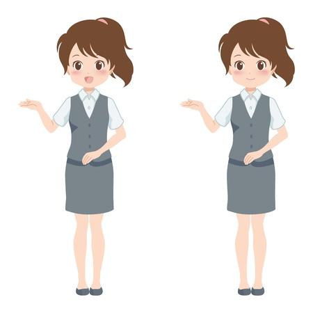 file clerk: woman guide Illustration