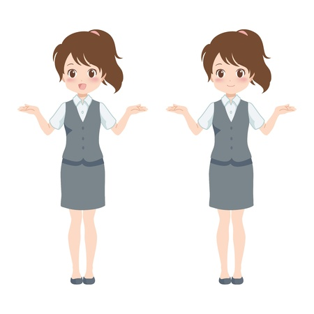 file clerk: woman happy Illustration