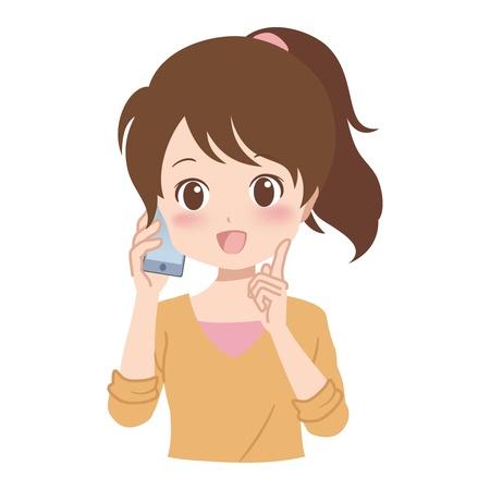 girl_phone  イラスト・ベクター素材