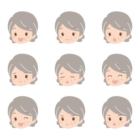 sullen: grandmother_face  Illustration