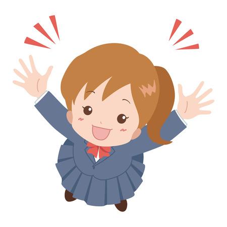 frau nach oben schauen: girl_happy Illustration