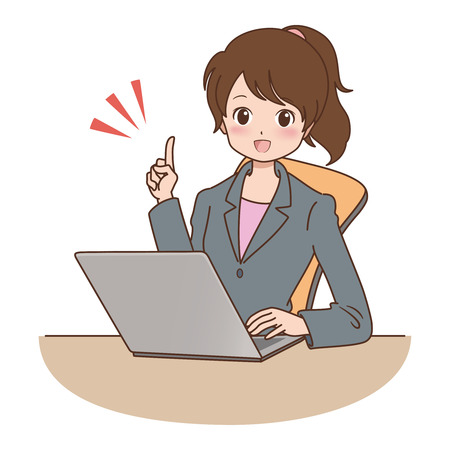vrouw met een computer Stock Illustratie