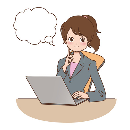 woman with a computer