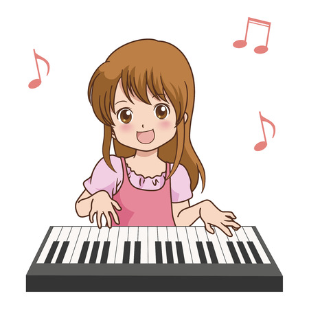 girl_piano  Vector