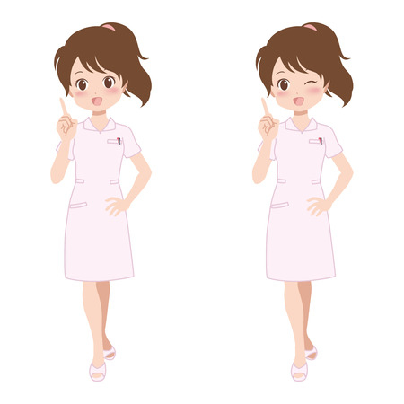 healthcare worker: woman_point  Illustration