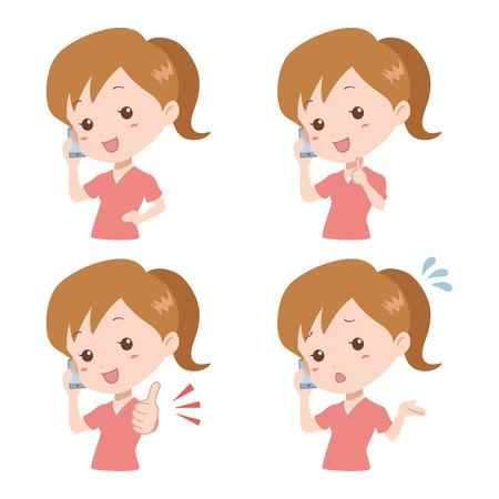 woman_phone Stock Vector - 24556231